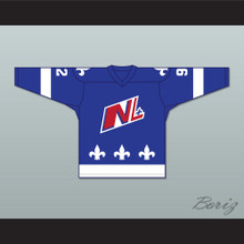 Alex Beauchesne 92 Le National de Quebec Blue Hockey Jersey- Lance et compte (He Shoots, He Scores)