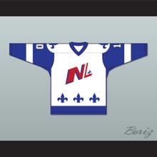 Danny Bouchard 10 Le National de Quebec White Hockey Jersey- Lance et compte (He Shoots, He Scores)