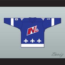 Danny Bouchard 10 Le National de Quebec Blue Hockey Jersey- Lance et compte (He Shoots, He Scores)