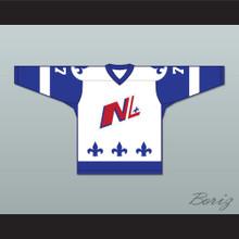 Francis Gagnon 77 Le National de Quebec White Hockey Jersey- Lance et compte (He Shoots, He Scores)