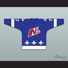 Francis Gagnon 77 Le National de Quebec Blue Hockey Jersey- Lance et compte (He Shoots, He Scores)
