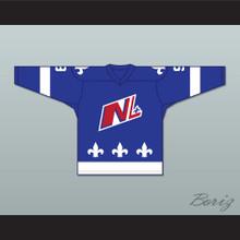 Mike Ludano 9 Le National de Quebec Blue Hockey Jersey- Lance et compte (He Shoots, He Scores)