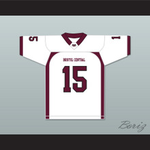 Player 15 Bristol Central Rams White Football Jersey Version 2