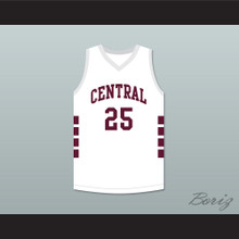 Player 25 Bristol Central Rams White Basketball Jersey
