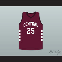 Player 25 Bristol Central Rams Maroon Basketball Jersey
