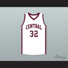 Player 32 Bristol Central Rams White Basketball Jersey