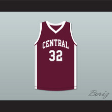 Player 32 Bristol Central Rams Maroon Basketball Jersey
