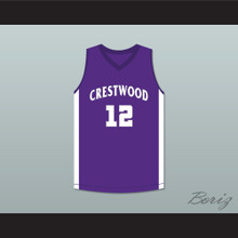 Player 12 Crestwood High School Knights Purple Basketball Jersey