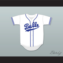 Ebby Calvin Laloosh 37 Durham Bulls Retro Button Down White Baseball Jersey