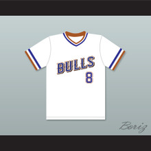 Crash Davis 8 Durham Bulls White Baseball Jersey 1