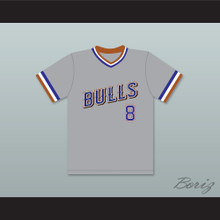 Crash Davis 8 Durham Bulls Gray Baseball Jersey 1