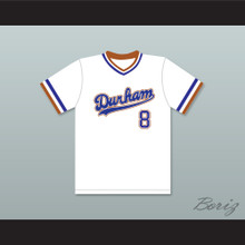 Crash Davis 8 Durham Bulls White Baseball Jersey 2