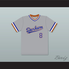 Crash Davis 8 Durham Bulls Gray Baseball Jersey 2