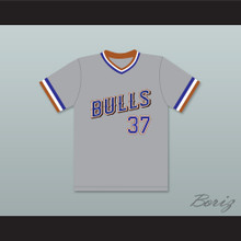 Ebby Calvin Laloosh 37 Durham Bulls Gray Baseball Jersey 1
