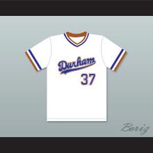 Ebby Calvin Laloosh 37 Durham Bulls White Baseball Jersey 2