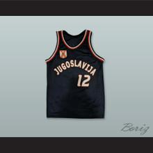 Vlade Divac 12 Jugoslavija Black Basketball Jersey