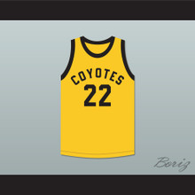 Player 22 Williston High School Coyotes Yellow Basketball Jersey