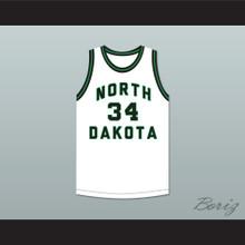 Player 34 North Dakota Fighting Hawks White Basketball Jersey