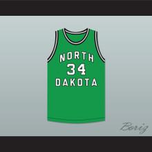 Player 34 North Dakota Fighting Hawks Green Basketball Jersey