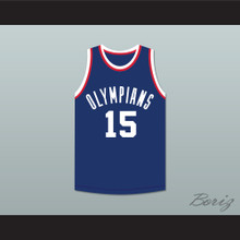 Alex Groza 15 Indianapolis Olympians Blue Basketball Jersey
