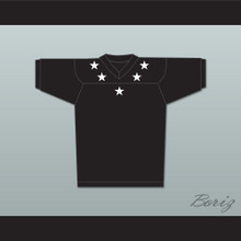 White Stars Black Football Jersey Stitch Sewn New