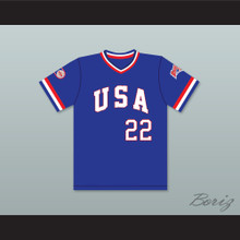 Barry Larkin 22 1984 USA Team Blue Baseball Jersey