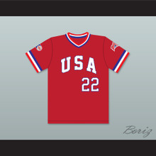 Barry Larkin 22 1984 USA Team Red Baseball Jersey