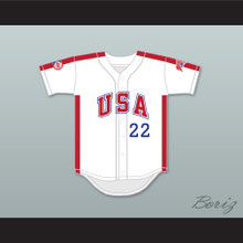 Barry Larkin 22 1984 USA Team White Button Down Baseball Jersey