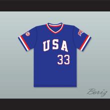 Bob Caffrey 33 1984 USA Team Blue Baseball Jersey