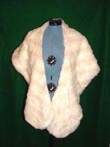 Ivory & Beige Faux Fur Stole, Excellent Condition!