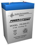 Power-Sonic PS-640 F1 Battery - 6V 4.5AH
