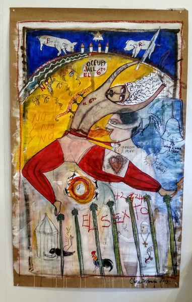 """El Sexto,"" Clara Morera #BN. 2015. Tempera on paper, 60"" x 36.5""."
