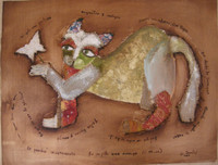 "Sandra Dooley #5143. ""En su pata una maruga,"" 2005. Mixed media on canvas. 13.5 x 18 inches.  SOLD!"