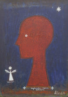 """Alazo - Alejandro Lazo #6704.  """"Mfumbe,"""" 2002. Oil on canvas. 19.5 x 14.5 inches, framed."""