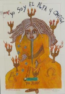 """El apocalipsis capitulo I,"" Clara Morera #BN. 2014. Tempera on paper, framed, 26"" x 20""."
