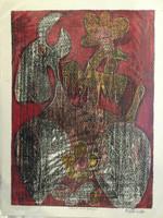 "Fuster (José Rodríguez Fuster) #86. ""Vaca con gallo,"" N.D. Monotype print. 17.5 x 13.5 inches."