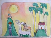 """Fuster (José Rodríguez Fuster) #6. """"Tienda del pueblo,"""" 1990. Watercolor on paper. 14.5 x 22 inches. SOLD!"""
