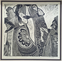 "Carballo (Oscar Carballo) #8. ""Carnaval,"" 1980. Woodcut print. 14.75 x 15.75 inches"