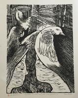 "Carballo (Oscar Carballo)  #113. ""Cuentos de una familia campesina,"" N.D. Woodcut print. 16.5 x 13 inches."