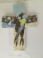 "Jorge Valdez #6451(BN). ""Caballero Cross,"" N.D. Mixed media tile on wood. 14 x 10.5 Inches. SOLD!."