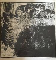 "Nelson Dominguez #38. ""Recogiendo flores,"" 1975. Woodcut print. 21 x 20 inches."