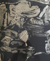 "Nelson Dominguez #40. 'Los primeros rebeldes,"" 1975. Woodcut print. 22 x 19 inches"