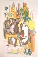 Fuster (José Rodríguez Fuster) #59. Untitled, 1990. Ink and watercolor on paper, 22.5 x 14.25 Inches. SOLD!