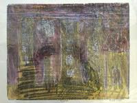 "Fuster (José Rodríguez Fuster) #83. ""Ciudad,"" N.D. Monotype print. 13.5 x 16.5 inches."