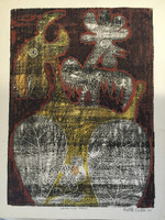 "Fuster (José Rodríguez Fuster) #85. ""Vaca con gallo,"" 1984. Monotype print. 18 x 13.5 inches."