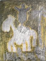 "Fuster (José Rodríguez Fuster) #87. ""Caballo y guajiro,"" N.D. Monotype print. 17 x 13.5 inches."