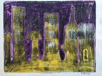 """Fuster (José Rodríguez Fuster) #90. """"La cuadra,"""" N.D. Monotype print. 13.5 x 17 inches."""