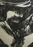 Choco (Eduardo Roca Salazar) #105. Untitled, 1977. Lithograph print edition 4 of 20.  25 x 19 inches.