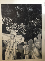 "Roger Aguilar #124. Series: ""Los ciegos de este,"" 1974. Lithograph print. 24 x 19 inches."