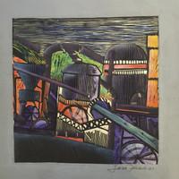 Jose Omar Torres #144 -2. Untitled, 1977. Color linoleum print. 16 x 16 inches.